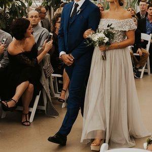 ASOS Gray Sequin Tulle Bridesmaid Dress